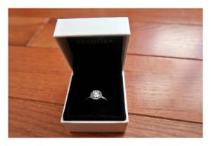 2017 December favorite, Pandora ring in box.