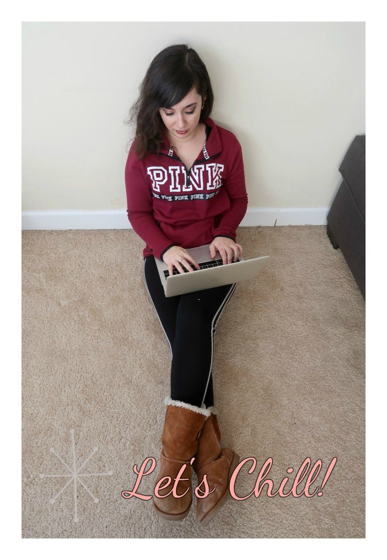 PINK sweater and leggings.