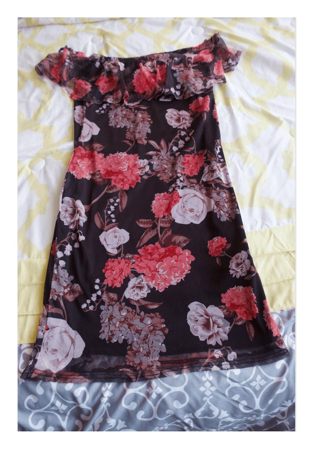 my birthday gift: black floral dress