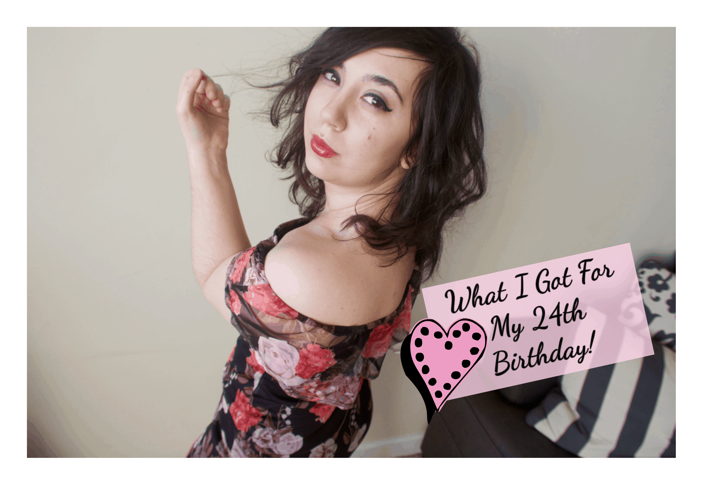 "I'm posing, wearing my floral bodycon dress. Captioned, ""What I Got For My 24th Birthday!"""