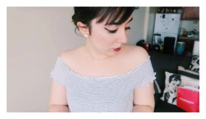 Wearing my striped off-the-shoulder top.