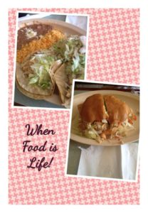Collage of a taco dinner dish with rice and beans and a torta. Captioned,