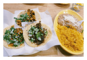 Taco dinner at Los Comales (2 chicken tacos and 1 steak taco, rice and beans).