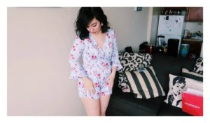 Wearing my floral romper from Mandee.