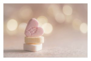 Pastel candy hearts.