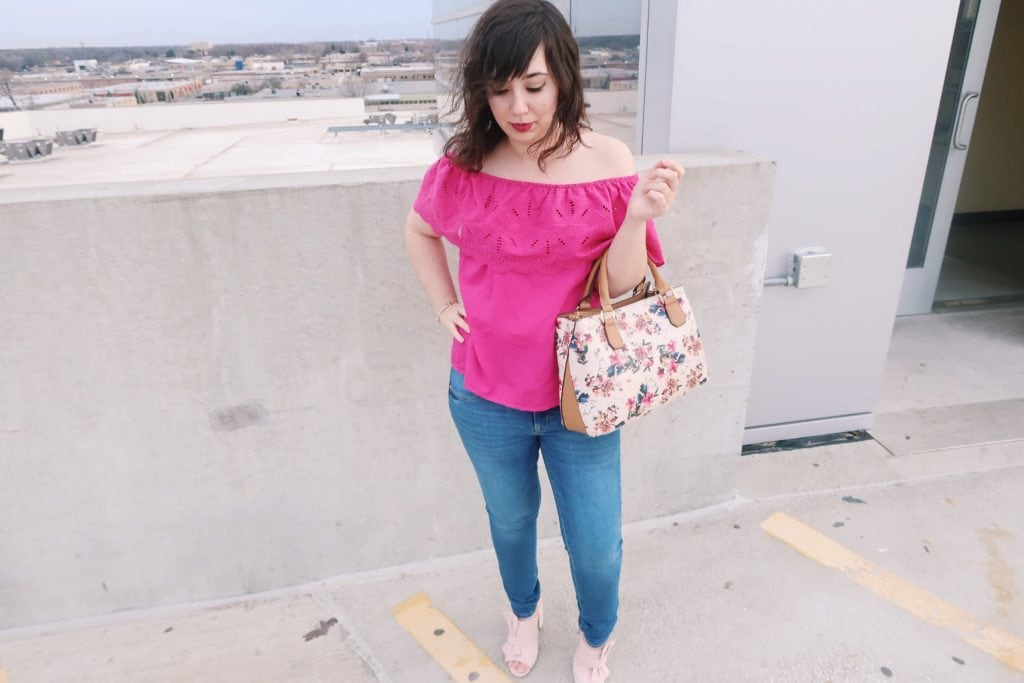 hot pink ootd + jeans