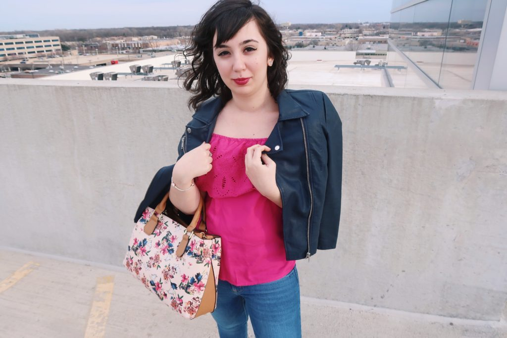 leather jacket + jeans and purse