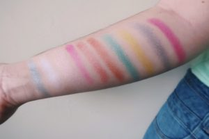 Swatches of NYX Love You So Mochi Palette in Electric Pastels.