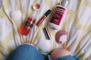 "Bath and Body Works ""A Thousand Wishes"" spray and lotion. Urban Decay Vice lipstick and Tarte lip paint."