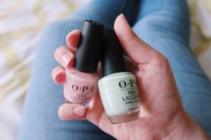 "O·P·I Nail Polish in ""Bubble Bath"" and ""That's Hula-rious."""