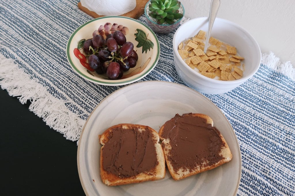 Nutella Toast Cereal and Grapes