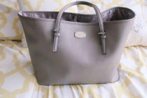 what's in my bag blog post - Grey Michael Kors tote