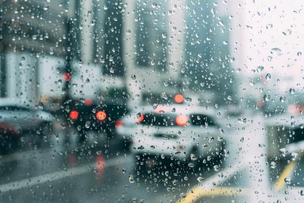taxi in the rain