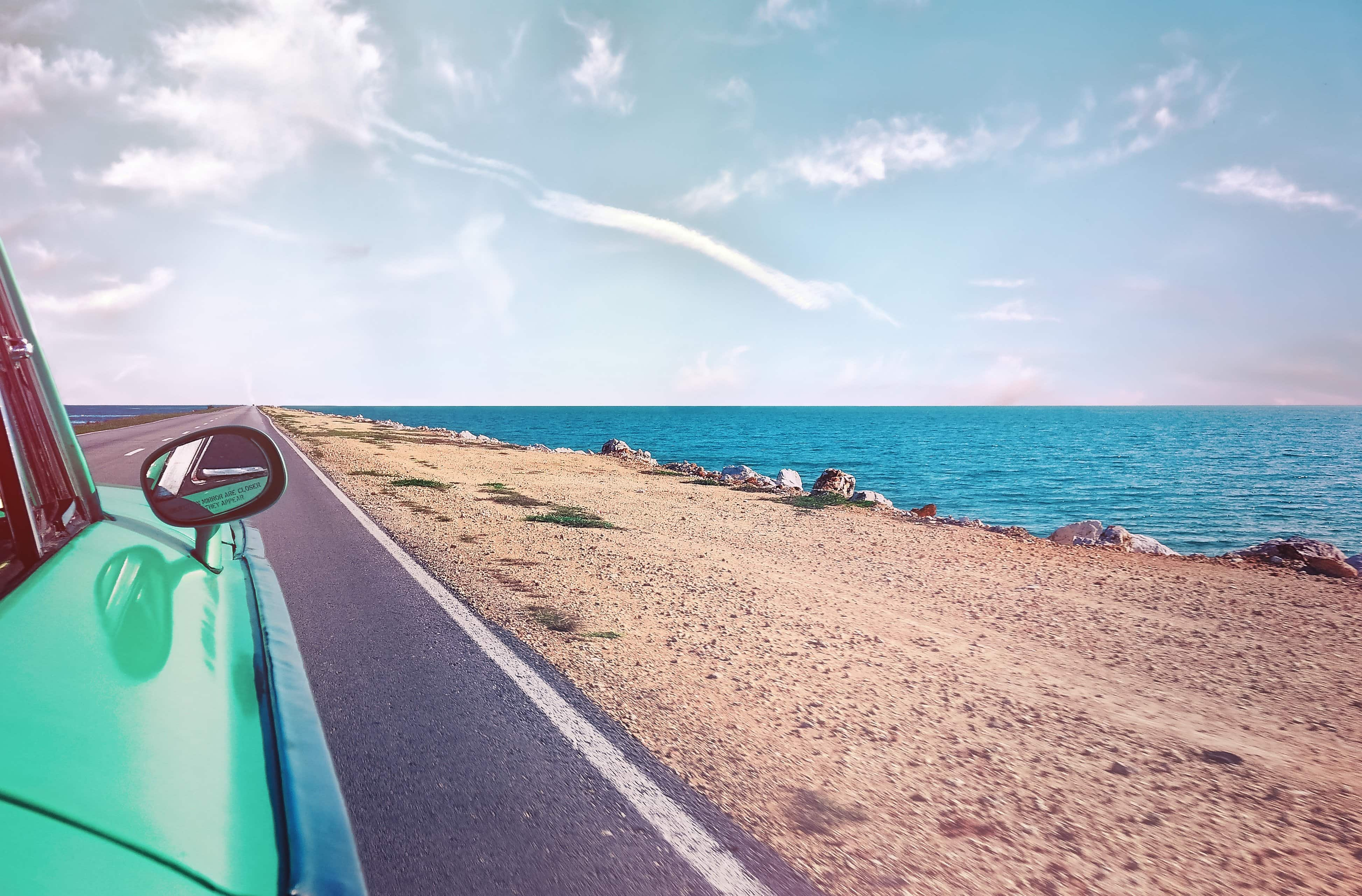 """""""50 Fun Things to do This Summer"""": Driving to the beach."""
