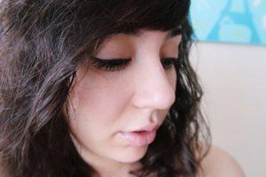 Everyday Makeup: neutral eyeshadow and lipgloss, mascara, and eyeliner.