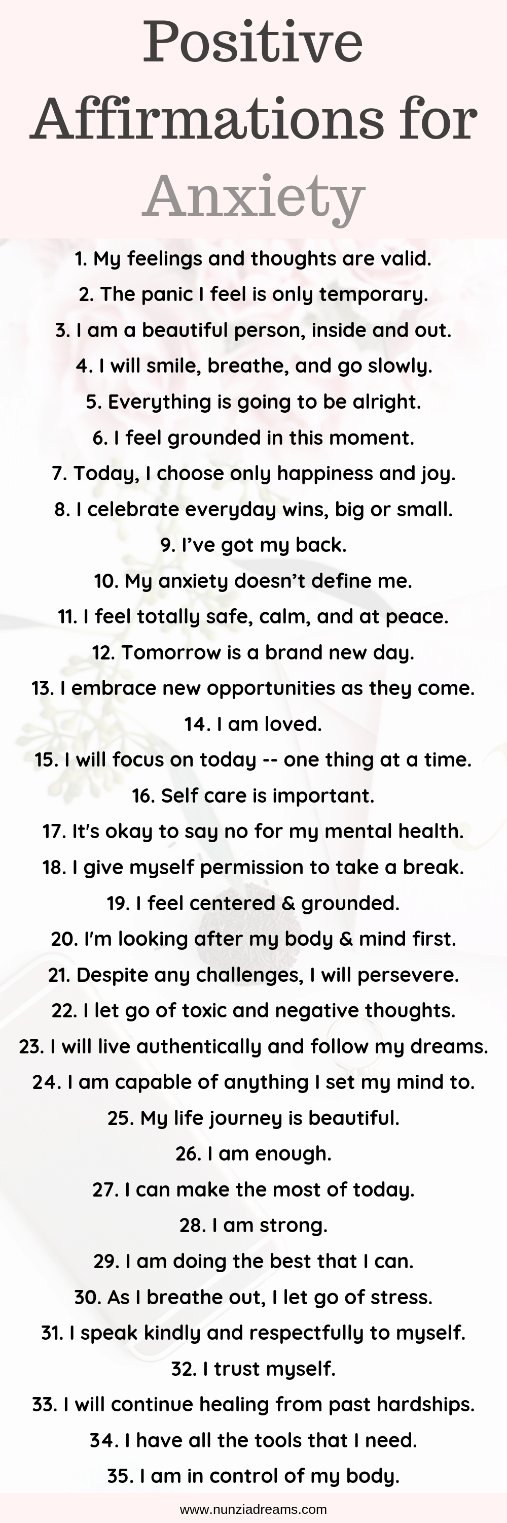Printable -- Positive Affirmations for Anxiety