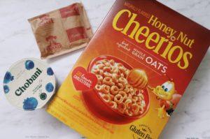 Breakfast: Chobani Yogurt, oatmeal, and Honey Nut Cheerios