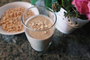 Banana and peanut butter smoothie and cereal