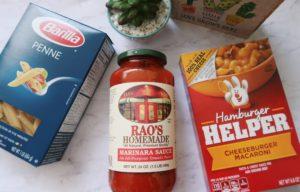 Barilla penne, Rao's marinara sauce, and Hamburger Helper