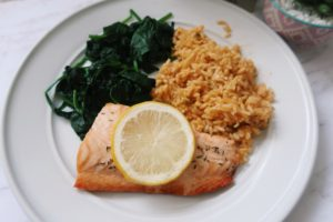 Italian roasted salmon, rice, and spinach