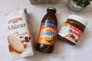 Milano cookies, Snapple Peach Tea, and Nutella