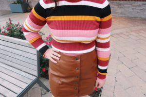 Striped sweater and skirt.