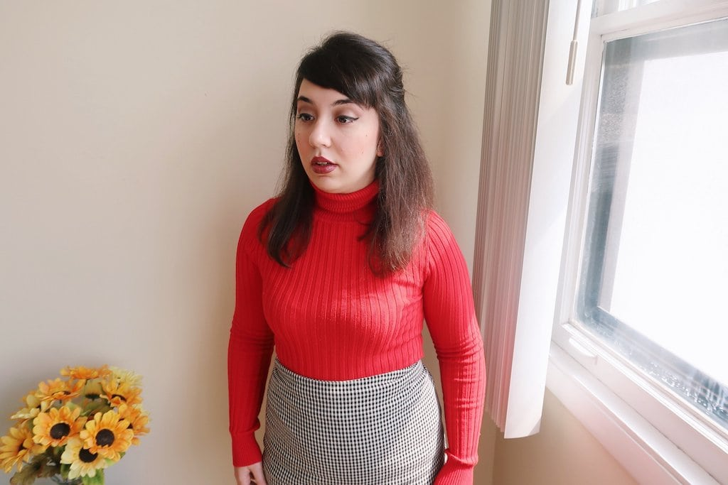 Red sweater and skirt