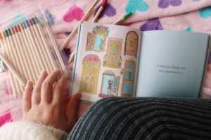 Coloring pencils and stress relief coloring book.