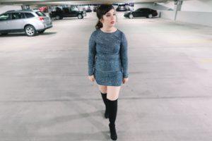 Walking in parking garage, better off dress