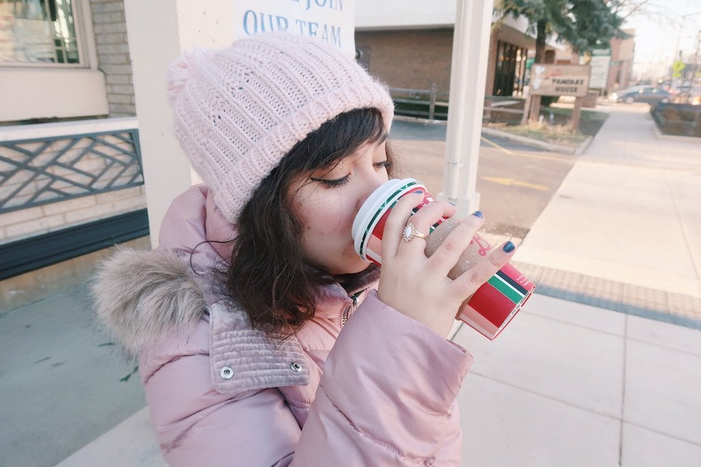 Enjoying Hot Holiday Starbucks Drink
