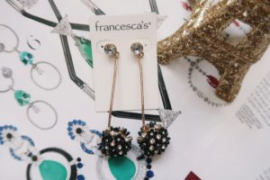 Jewelry Flat Lay: Black drop earrings.