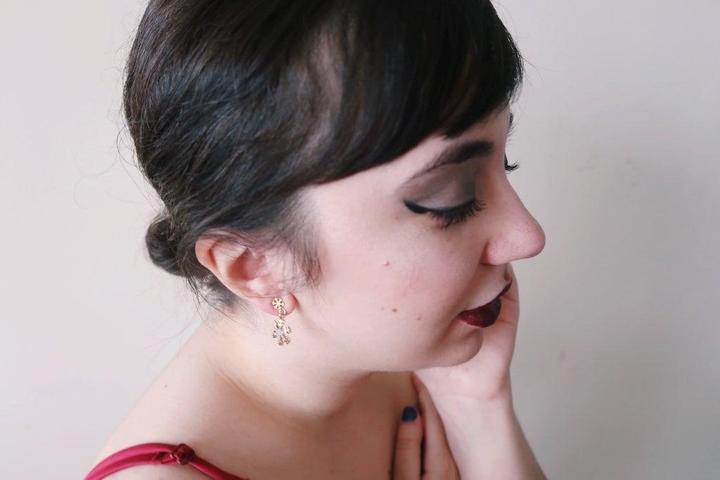 Snowflake Earrings Try-On