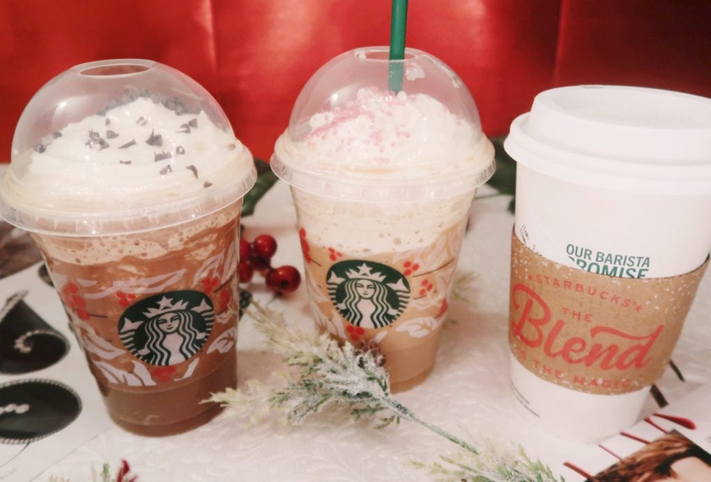 Frappuccino, Iced, and Hot Holiday beverages.