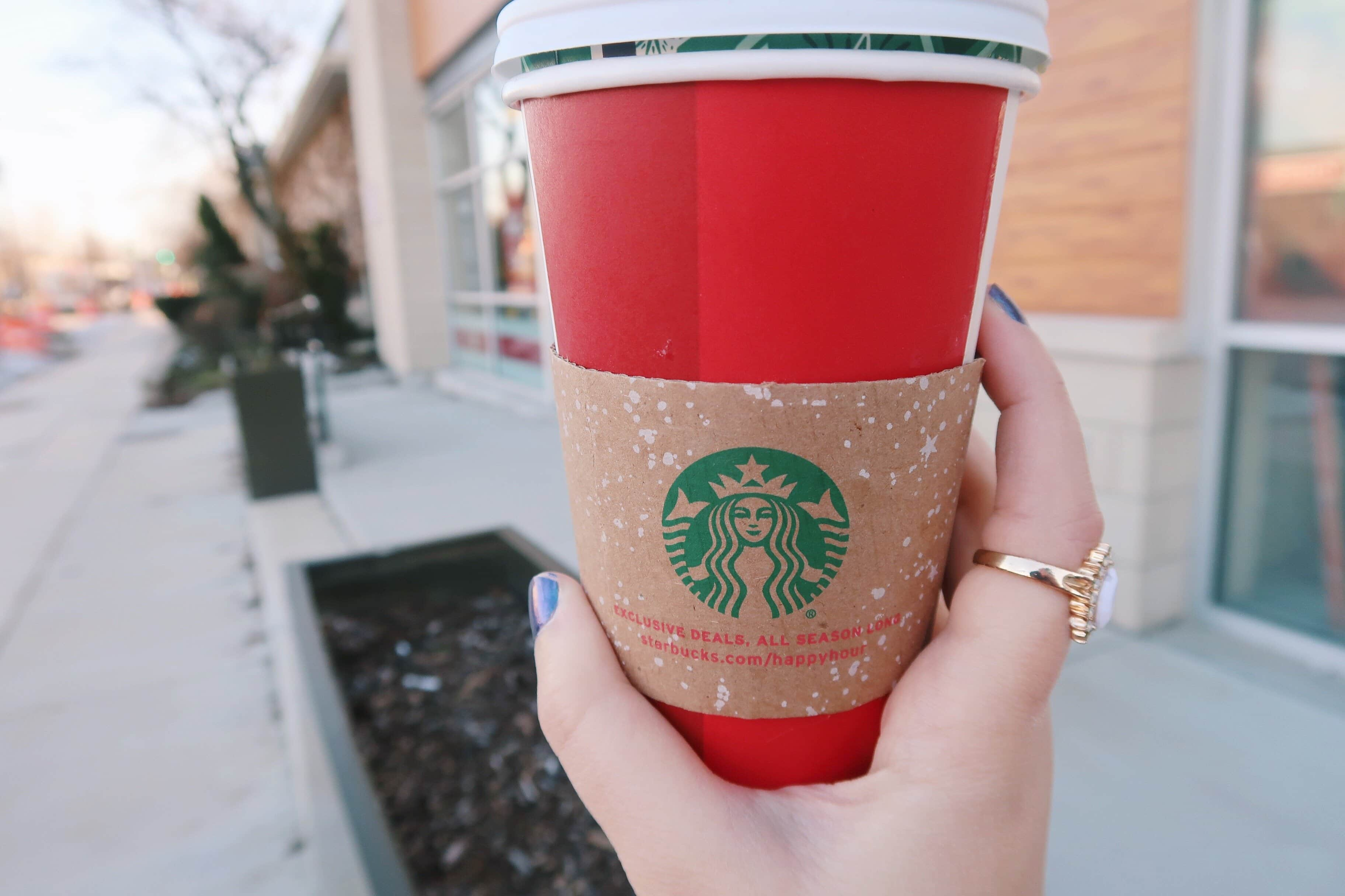 Starbucks festive holiday hot coffee cup.