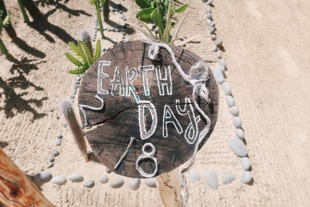 Earth Day sign.