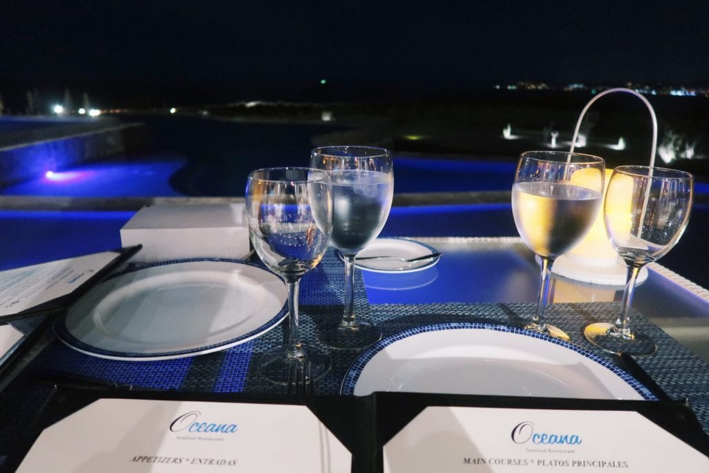 Oceana dinner table and menu.