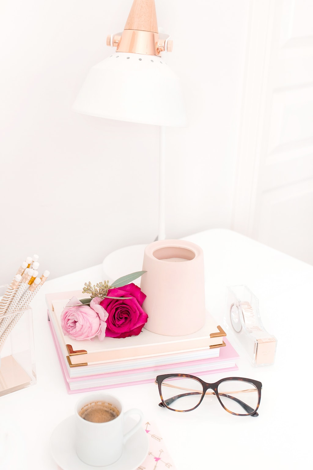 Pink and Red Desk -- Self-Love ideas Valentine's Day