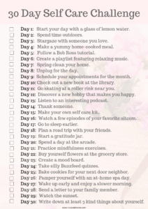 30 Days of Self Care Printable Checklist