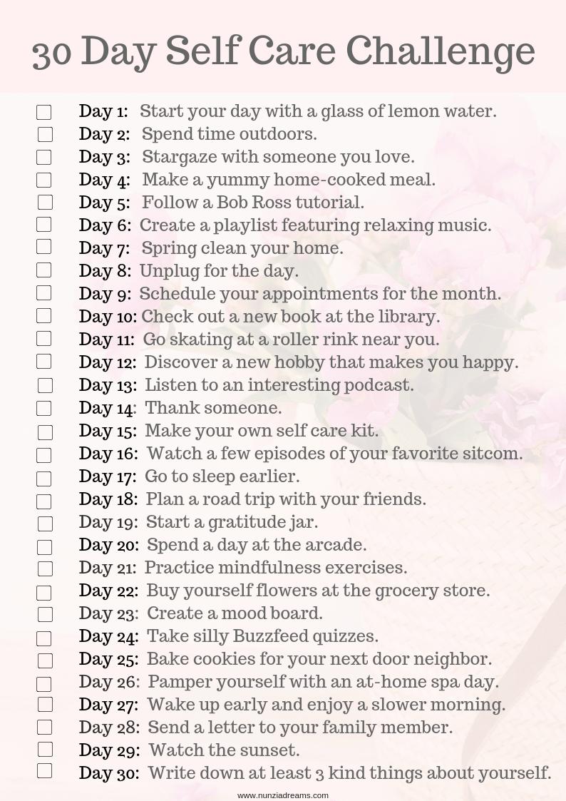 30 Days Of Self Care Challenge Checklist Nunziadreams