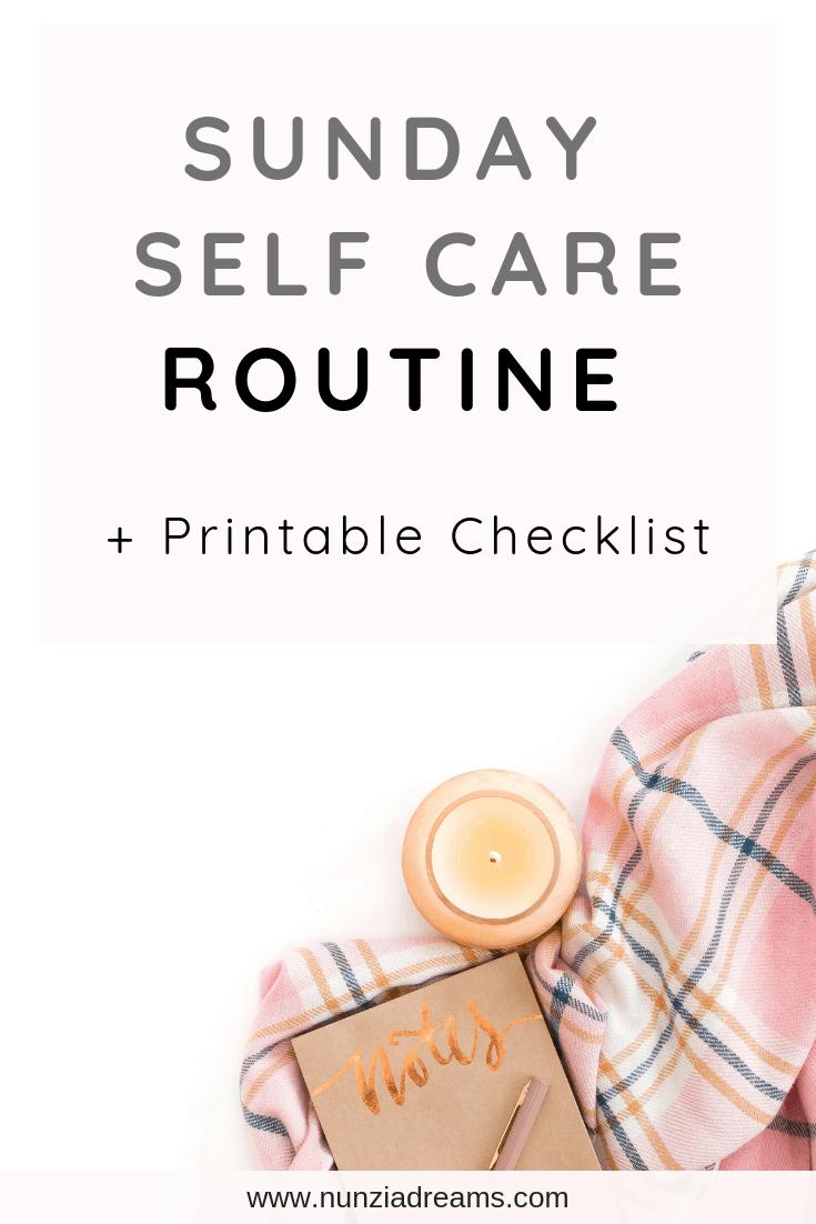 Pin -- Sunday Night Self Care Routine + Printable Checklist