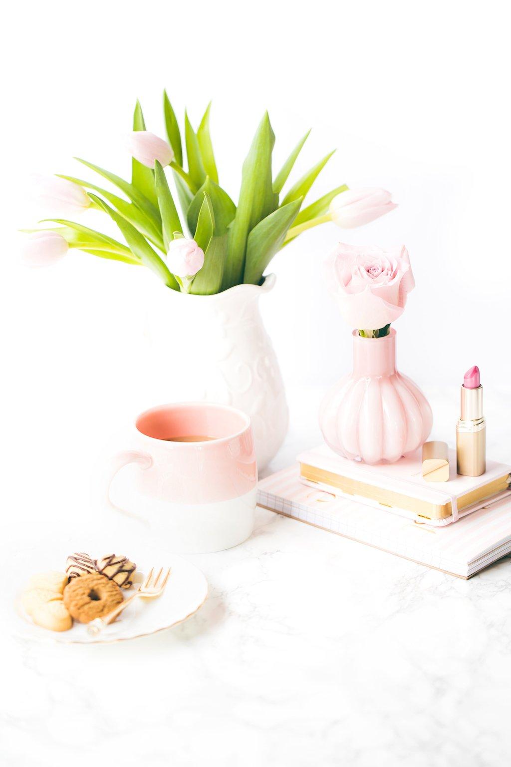 Pink workspace.
