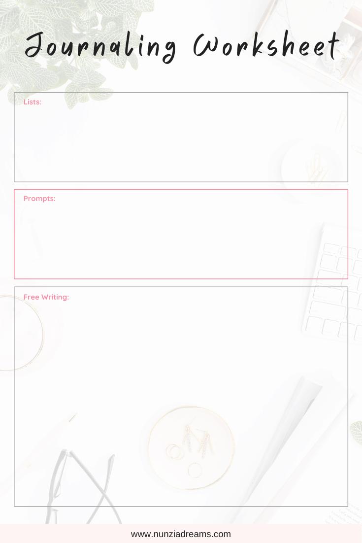 Journaling Worksheet