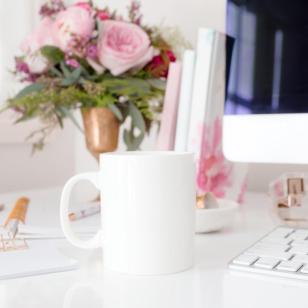 desktop and coffee mug