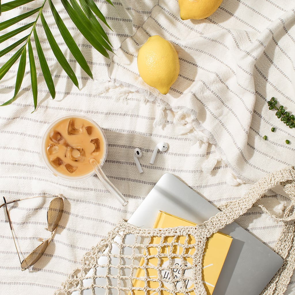 iced coffee and lemon flatlay
