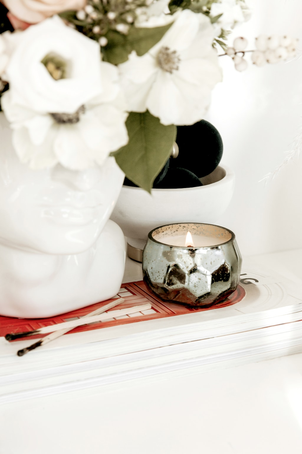 Flower Pot and Candle on Desk | Self-Soothing