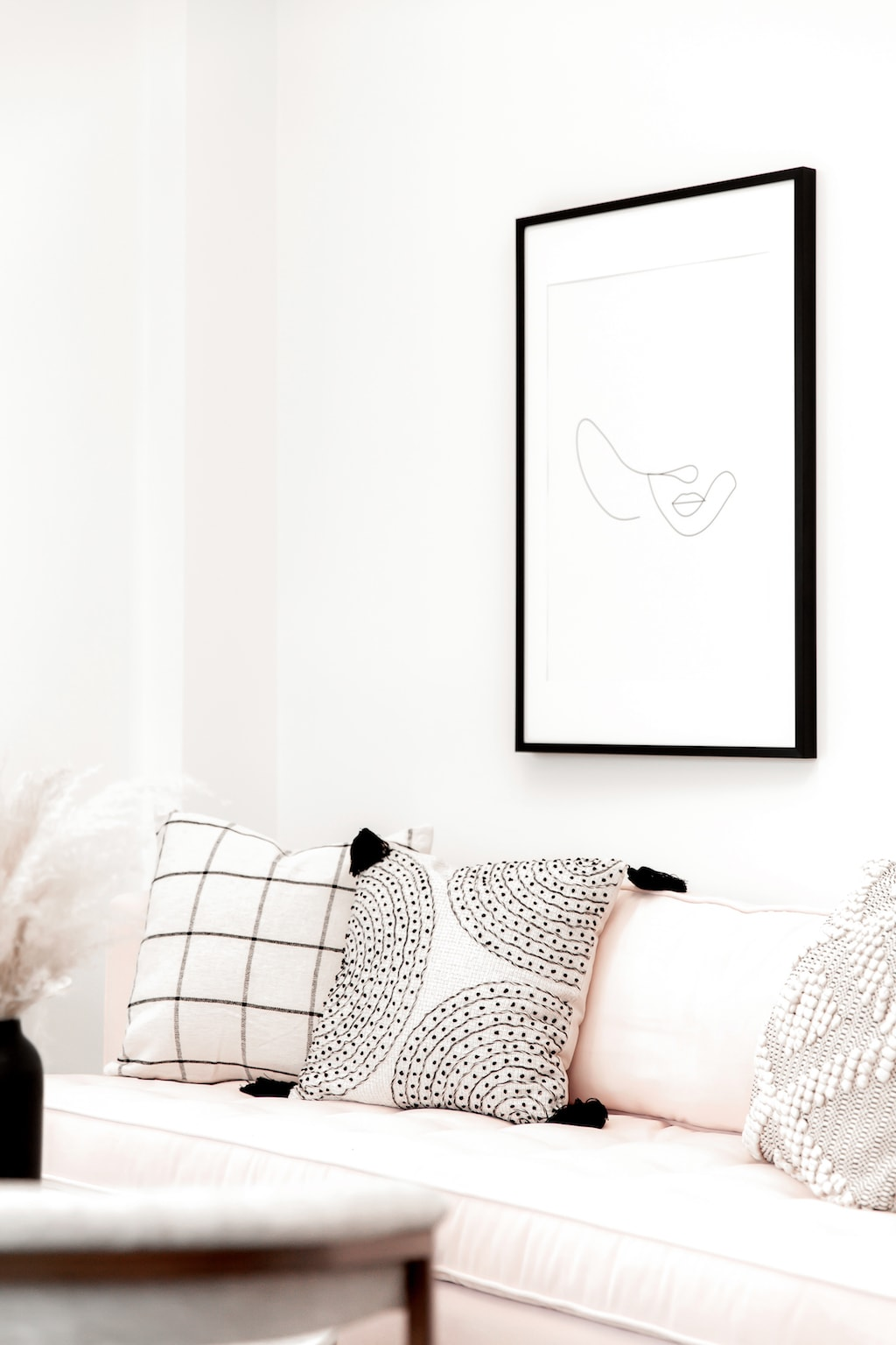 cozy couch and wall art